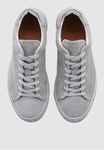 Selected Homme grey David Funky Leather Trainers 15938SH6C290FAGS_1