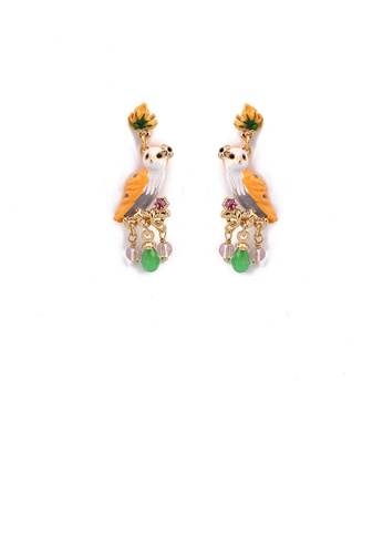 Glamorousky silver Fashion and Elegant Plated Gold Enamel Owl Tassel Earrings with Cubic Zirconia C340FACFC9D8E2GS_1