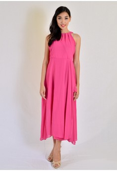 Aw Maxi Halter With Pleats