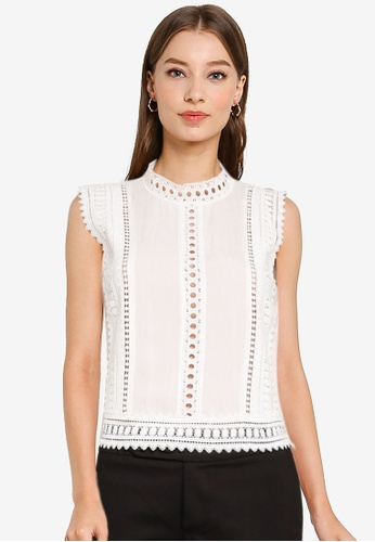 ZALORA WORK white High Neck Lace Top B0D65AAD84837CGS_1