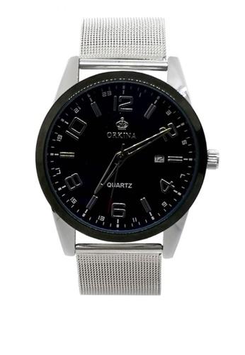 Chronomart silver Men's Date Display Dial Stainless Steel Mesh Chain Strap Wrist Watch ORK-0353 C784DAC8B6A572GS_1