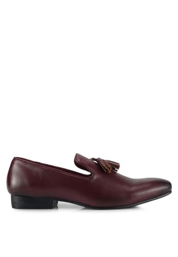 ACUTO red Leather Tassel Loafers AC283SH0SL6SMY_1