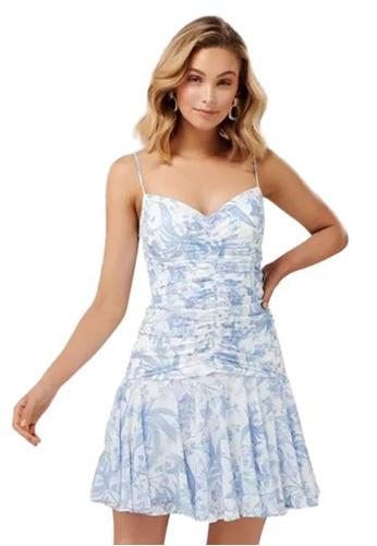 Ever New blue Eleni Ruched Mini Dress 759B3AAB6CCAC1GS_1