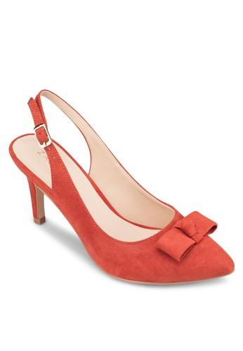蝴蝶結zalora 衣服評價踝帶尖頭中跟鞋, 女鞋, 厚底高跟鞋