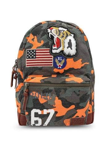 Polo Ralph Lauren orange and multi Camo Tiger Backpack 5D934AC2E07565GS_1