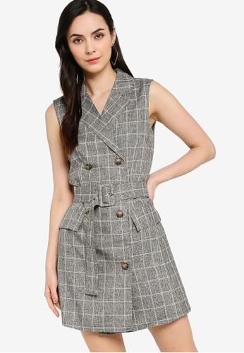ZALORA WORK grey Double Breasted Blazer Mini Dress 1EB99AA44982FEGS_1