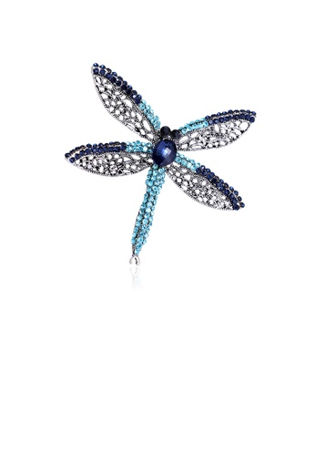 Glamorousky blue Fashion and Elegant Dragonfly Brooch with Blue Cubic Zirconia 7A5EAAC88AAB77GS_1