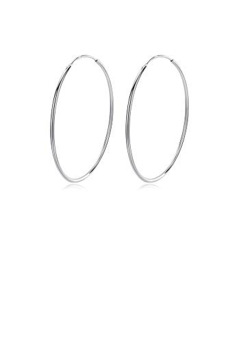 Glamorousky silver 925 Sterling Silver Simple Fashion Geometric Round Earrings 30mm 841EDAC77B3AFDGS_1