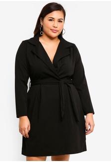 3e76403daa Plus Size Tie Waist Collar Shift Dress DBBA2AA5EB2546GS 1