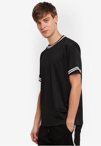 Flesh IMP black Mesh Rib Long Box Cut T-Shirt FL064AA0RTOIMY_1