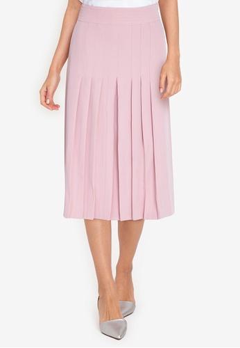 ZALORA WORK pink Pleated Front Skirt 600DDAADF1AA5BGS_1