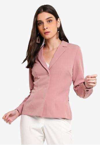ZALORA 粉紅色 Casual Blazer Top With Self Tie CD61DAA7E9408BGS_1