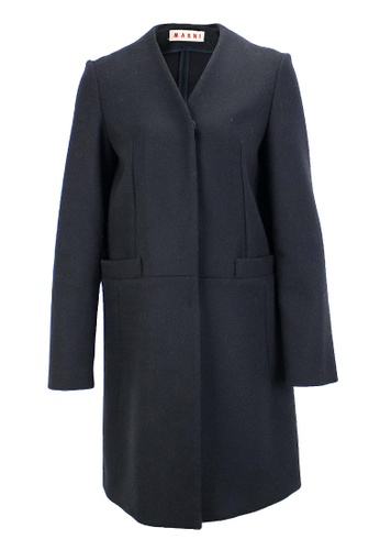 MARNI black Pre-Loved Black Wool Marni Coat with Snap Closure and Two Front Pockets 497EDAA367181AGS_1