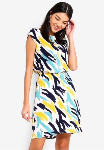 ZALORA white and multi Fit And Flare Dress 8E928AA1466298GS_1