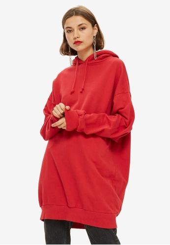 TOPSHOP red Longline Hoodie E1D88AAD045015GS_1