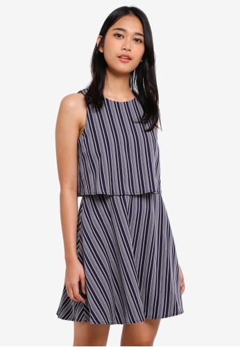 SOMETHING BORROWED navy Double Layer Fit and Flare Dress E45B4AAD01BFD1GS_1