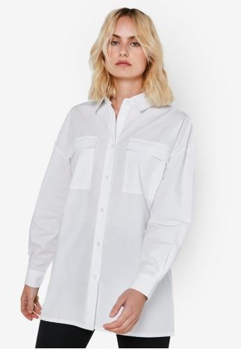 Noisy May white Pinar Long Sleeves Poplin Shirt FE0D4AA22A7B54GS_1