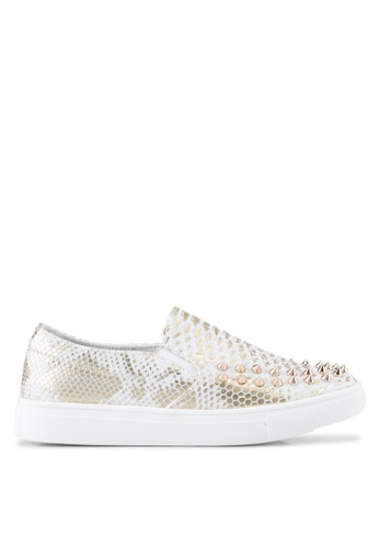 addicts anonymous white Avery Studs Snake Skin Slip Ons AD479SH0SR5GMY_1