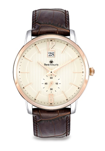 René Mouris multi Executive Collection - 44mm Classic Quartz Watch For Men's - with Genuine Leather Strap - Made in France 00626AC3B94E4AGS_1