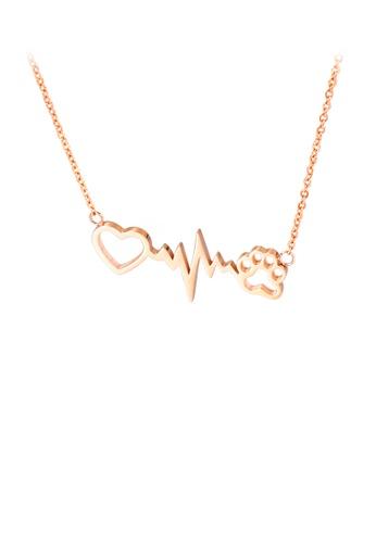 Glamorousky 銀色 時尚創意鍍玫瑰金心形狗爪印316L鋼項鏈 F884FAC333025AGS_1