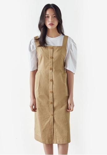 NAIN beige Button Down Pinafore Dress 89A99AA8C57CC5GS_1