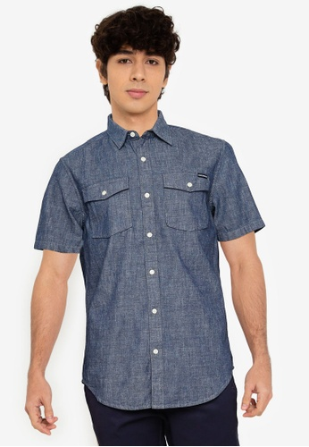 SUPERDRY blue Short Sleeve Denim Loom Shirt - Original & Vintage F6E99AA6321686GS_1