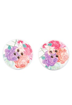 Painted Button Earirngs