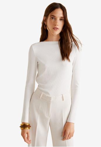 Mango white Ribbed T-Shirt 944F0AA2A6835AGS_1