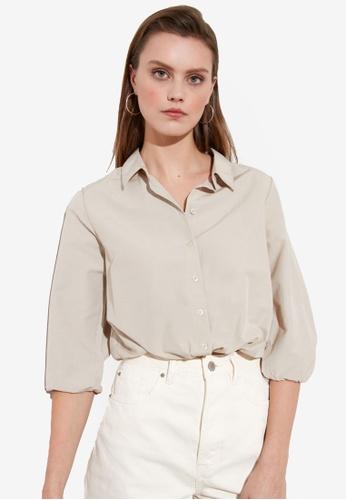 Trendyol beige Gathered Sleeve Elastic Waist Shirt 84E82AAFCEA49BGS_1