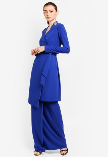Malevich Long Wrap Kurung from 3thelabel in Blue
