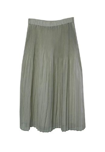 Giordano Ladies grey Pleated Crinkle Organza Skirt 71186AACC2985CGS_1
