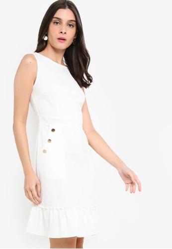 ZALORA 白色 Gathered Hem Sleeveless Dress 768B2AA1C636FFGS_1