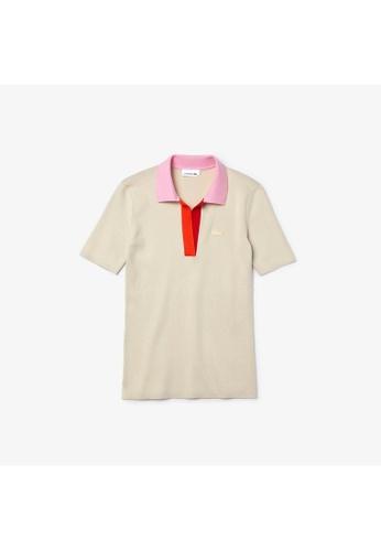 Lacoste Women's Polo Collar Two-Tone Cotton Sweater 9F09EAAE7B55DAGS_1