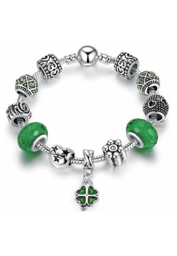 YOUNIQ green and silver YOUNIQ Silver Charm Bracelet with Lucky Four Leaves Clover for Her Gift PA1487 (Green) 6D06FAC20DFB98GS_1