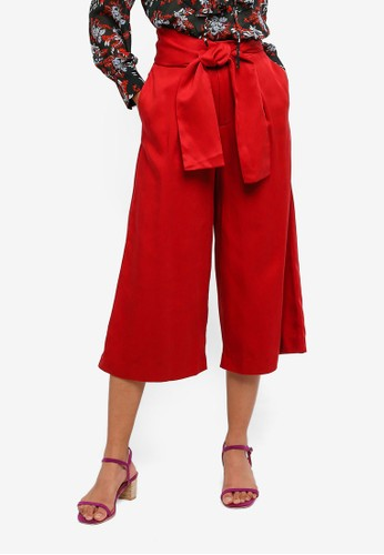 Hopeshow red High Waist Culottes Pants With Tie Belt A9C4AAAAB09D50GS_1