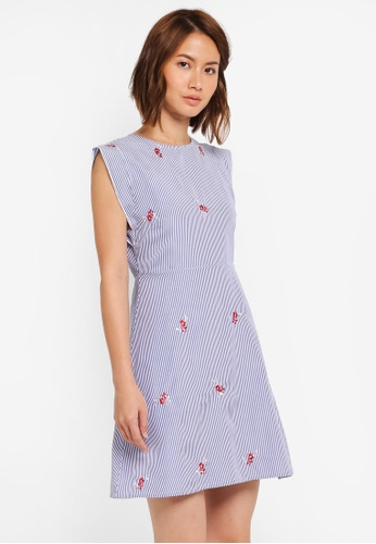 ZALORA blue Fit & Flare Dress with Side Detail 277DAAAE06E9FFGS_1