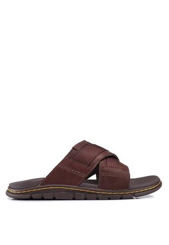 Dr. Martens brown Athens Slide Sandals 483B1SHD40B6FDGS_1