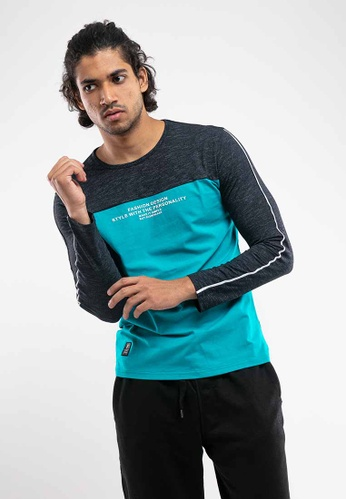FOREST Forest Stetchable Casual Long Sleeve Tee - 23370-44Turquoise 6E63AAA8F4D372GS_1
