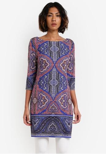 Wallis blue Petite Mosaic Paisley Tunic Dress WA800AA0RXALMY_1