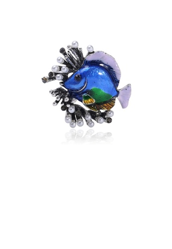 Glamorousky white Fashion Personality Blue Tropical Fish Coral Imitation Pearl Brooch C63EEAC39737C2GS_1