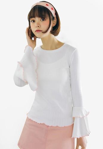 Shopsfashion white Flare Sleeve Blouse 727E1AA85B858EGS_1