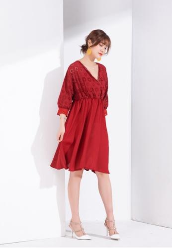 Zafiti red V Neckline Puff Sleeves High Waist A-line Dress 85B5CAA7A206EBGS_1