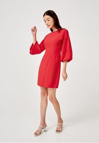 Love, Bonito red Kaylee Balloon Sleeve Dress 6CDC4AAA3915DDGS_1