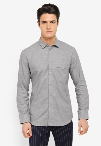ZALORA grey Brushed Cotton Hidden Pocket Long Sleeve Shirt 5EE12AAA52141CGS_1