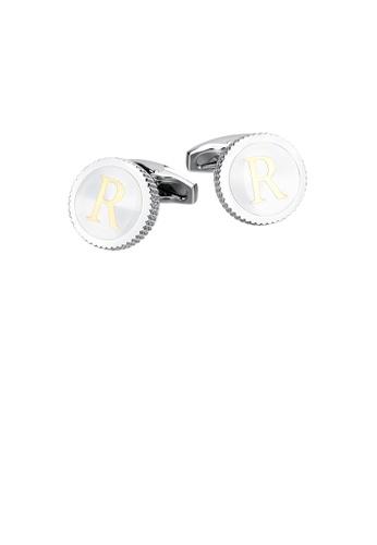 Glamorousky 銀色 時尚簡約英文字母R圓形袖扣 A222CACE902744GS_1