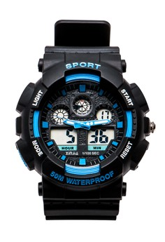 XINJIA Sports Digital Men Blue/Black Rubber Strap Watch 860Z