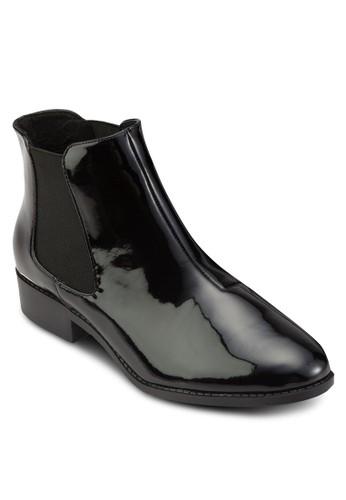 側彈性帶漆皮短靴, 女esprit hk鞋, 鞋