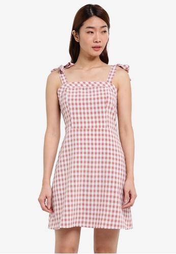 ZALORA pink Tie Shoulder Fit & Flare Dress D503DAA73F0B3CGS_1