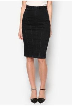 Collection Stretch Midi Denim Skirt