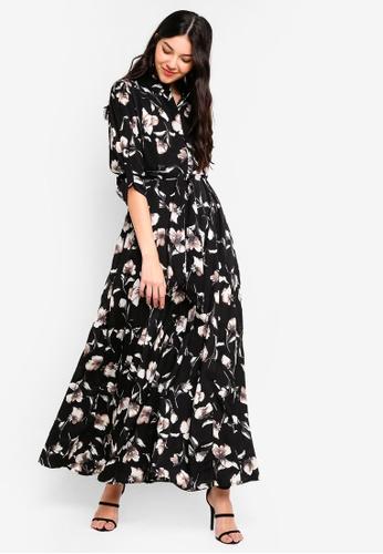 Liquorish black Flower Print Maxi Dress E9FCDAADE8D78CGS_1